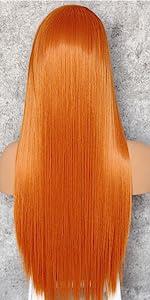 orange straight wig