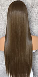straight long dark brown wig