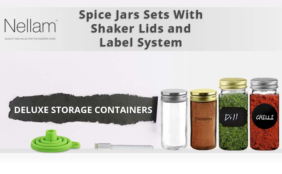 French Round Glass Spice Jars - Set of 12 with Shaker Lids and Chalkboard Sticker Labels,