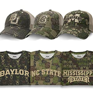 Baylor hat tee shirt, NC State Wolfpack, MS Mississippi State camo fanouflage