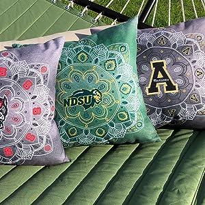 NC State, NDSU. North Dakota State, App Appalachian State, pillows home decor, batique
