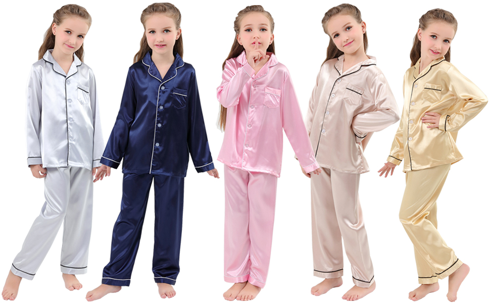 US Baby Boy Girl Silk Satin Pyjamas PJS Set Kids Long Sleeve Sleepwear Nightwear