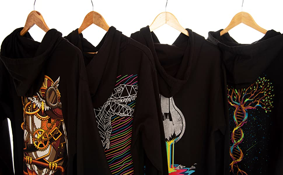 into the am selection of graphic hoodies hanging on rack