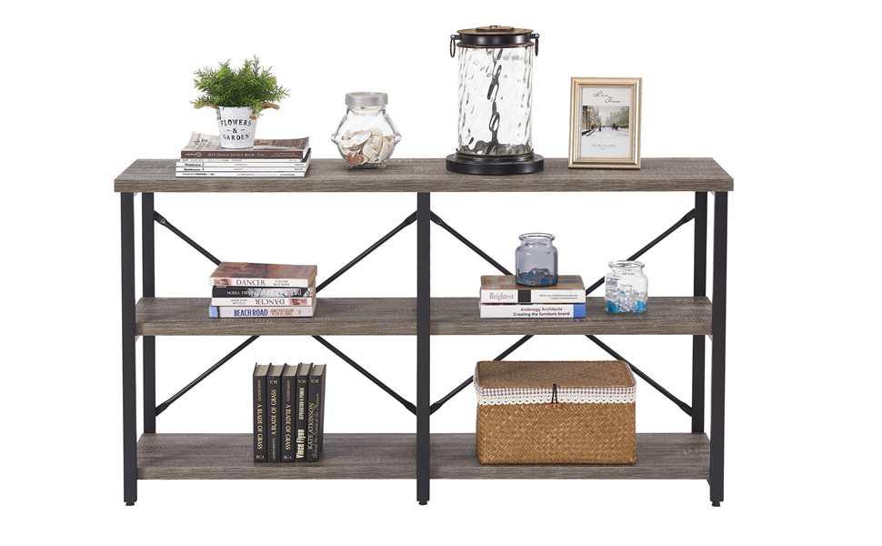 Console sofa table bookshelf 3 tier