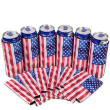 slim,can,can slim.flag,usa,america,4th of july,koozie,energy drink,wave flag,red bull,energy can,