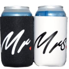 mr and mrs,mr & mrs,wedding,koozie,coozie,can,cooler,beer,gift,sleeve,white,black,engagement ,