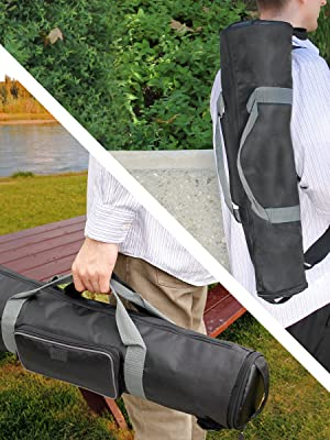 """Padded Tripod Case by USA Gear with Expandable Compartment up to 35"""" & Accessory Storage"""