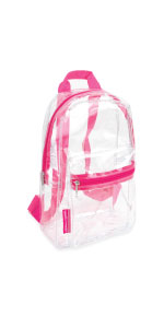 clear backpack pink for travel tsa approved small for concerts gifts with handles for shirt for work