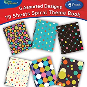 spiral notebooks notebook wire bound subject assorted colored heavy duty 3 holes hole punch 70 sheet