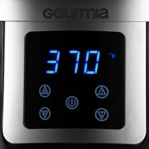 Image of the LCD display of the Free Fry Air Fryer from Gourmia.