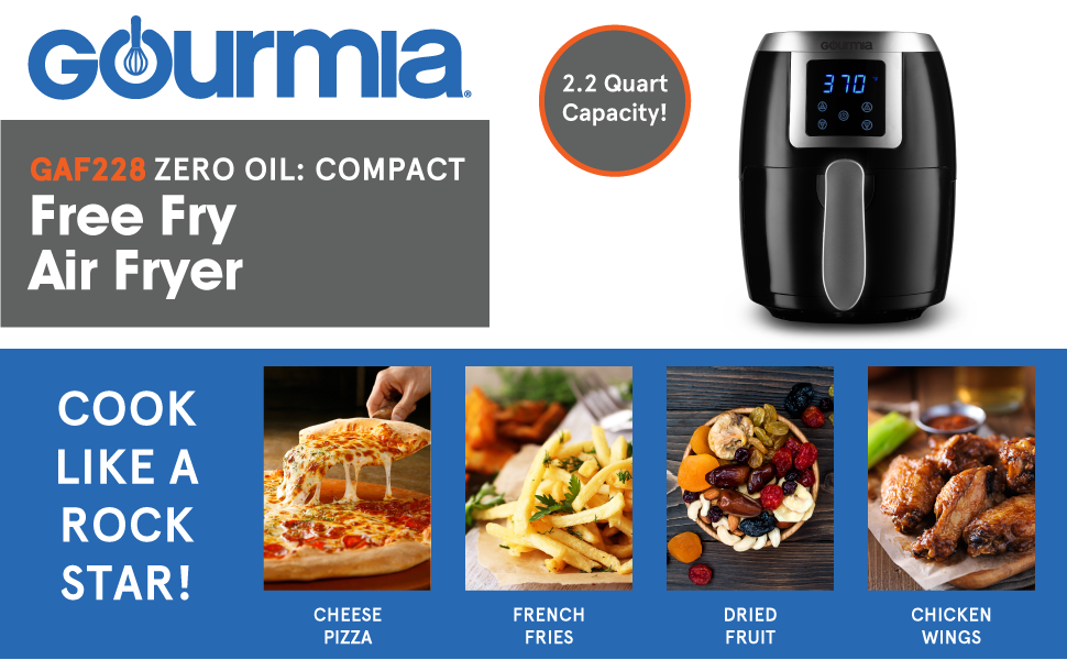 Product image and features of the Free Fry Air Fryer from Gourmia.