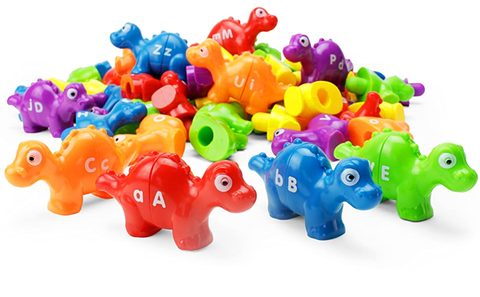 dozens of two-piece dinos with alphabet letters written on each piece are ready for play