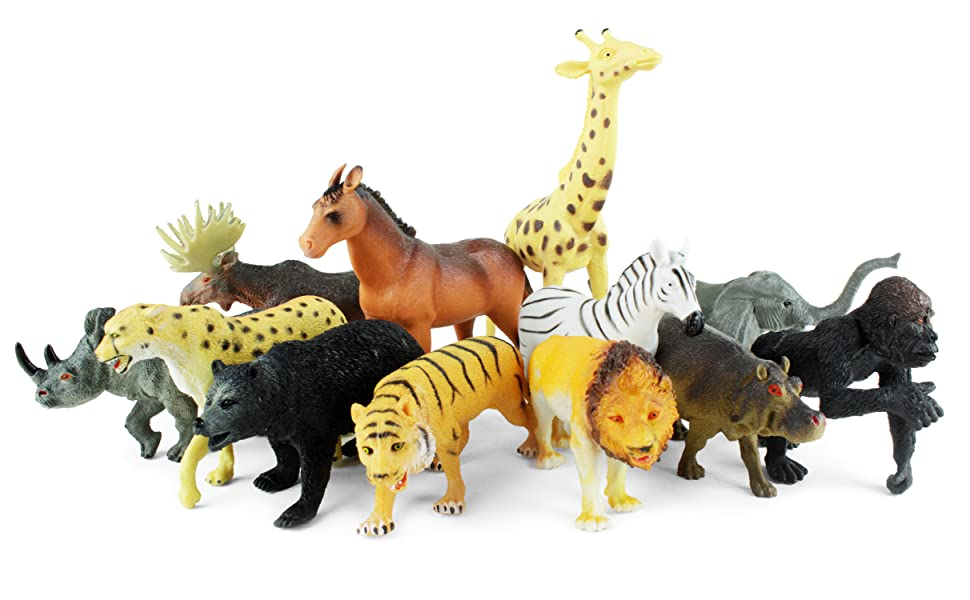 a herd of 12 animals of all species from the safari region pose for an awesome play picture