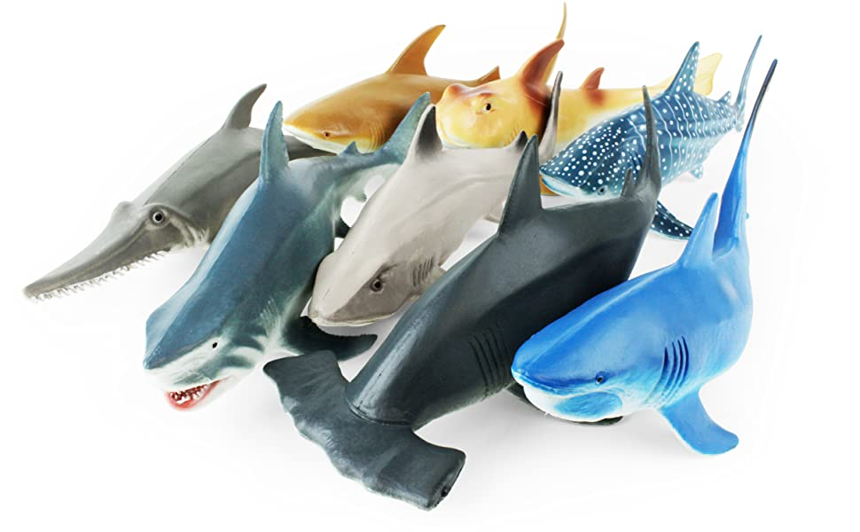 eight different types of realistic and powerful rubber sharks are ready for some serious play!