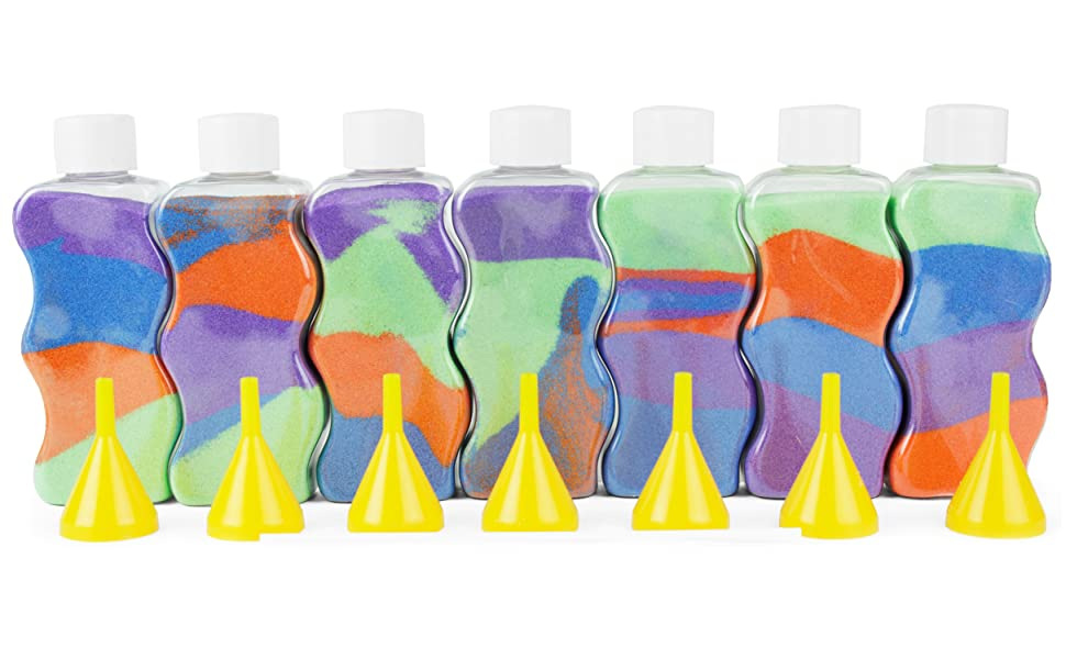 7 sand art bottles with beautiful abstract shapes are reminiscent of the arizona mountain ranges