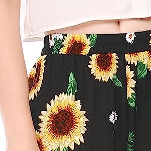 Women's Allover Printed Lace Trim Elastic Waist Summer Shorts