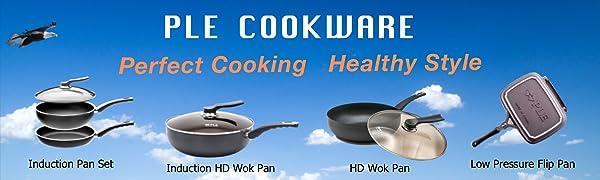 PLE Cookware, Wok Pan, Stir Fry Pan, Non Stick Pan, Induction Pan, Flip Pan, Double Pan, Fold Pan
