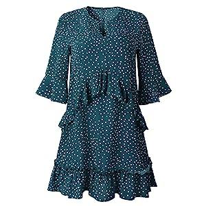 Longwu Women's Casual V Neck Ruffle Polka Dot Loose Swing Short T-Shirt Dress