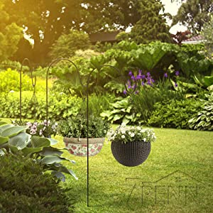 Picture of sheperds hooks with hanging plants in garden