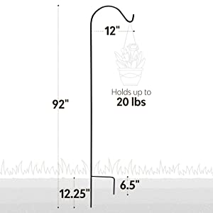 Picture showing dimensions. Holds up to 20 pounds.