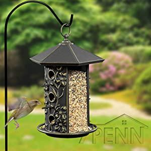 Image of sheperds hook with hanging bird feeder