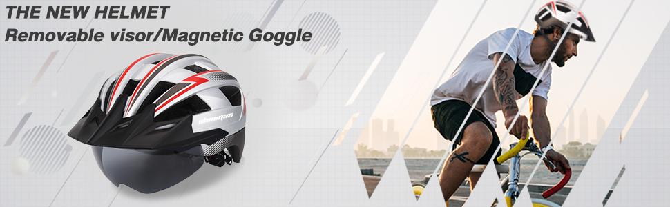 Shinmax Bike Helmet,Bicycle Helmet with USB Rechargeable LED Light Adult Cycling Helmet//Adjustable Size Detachable Visor/&Removable Magnetic Goggles for Men Women Road Helmet SM-B23