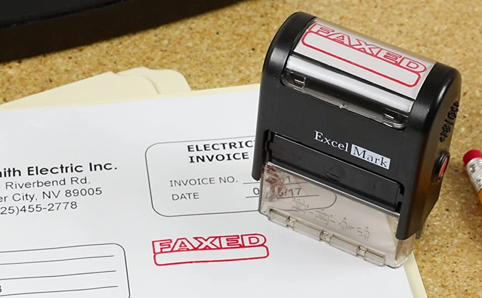 FAXED - ExcelMark Self Inking Rubber Stamp - Red Ink