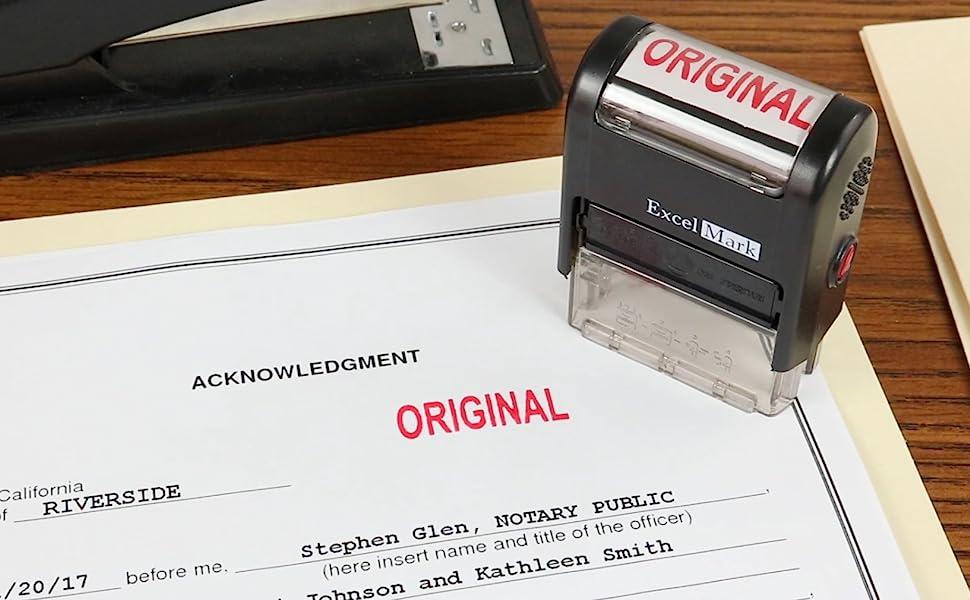 ORIGINAL ExcelMark Self Inking Rubber Stamp - Red Ink