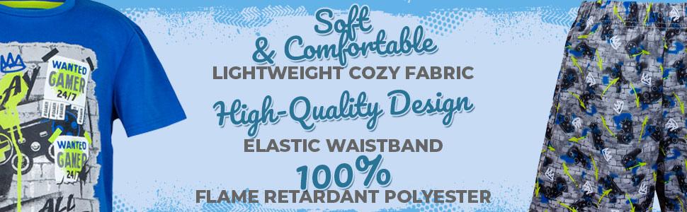 Sleep On It Boys 4 Piece Sleepwear Pajama Set - Short Sleeve with Pant & Short Sets