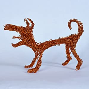 Dog made from pliable copper wire