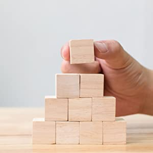 Square wood building blocks wooden cubes for children kids toddlers baby showers