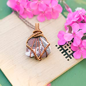 Gemstone Wrapped with Metal Copper Hobby Wire