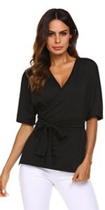 women tie waist short sleeve wrap tops