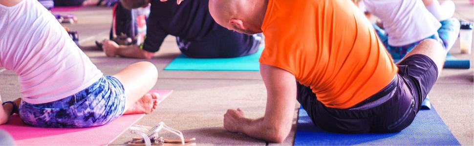 yoga mats, classroom, relaxing