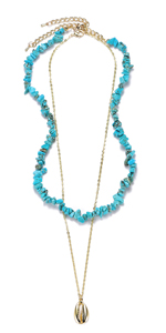 Metal Chain Necklaces with Turquoise Beads Pearls Coin Shell Pendant Jewelry Set