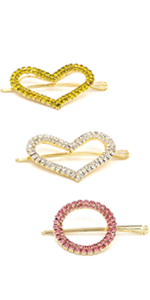 3 Pack of Colorful Sparkling Jewel Hair Clips