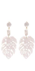 Resin White Leaves Shaped Statement Dangle Drop Earrings