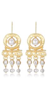 Metallic Drop Faux Pearls Earring