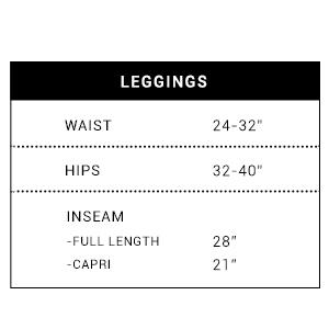 Regular size leggings chart