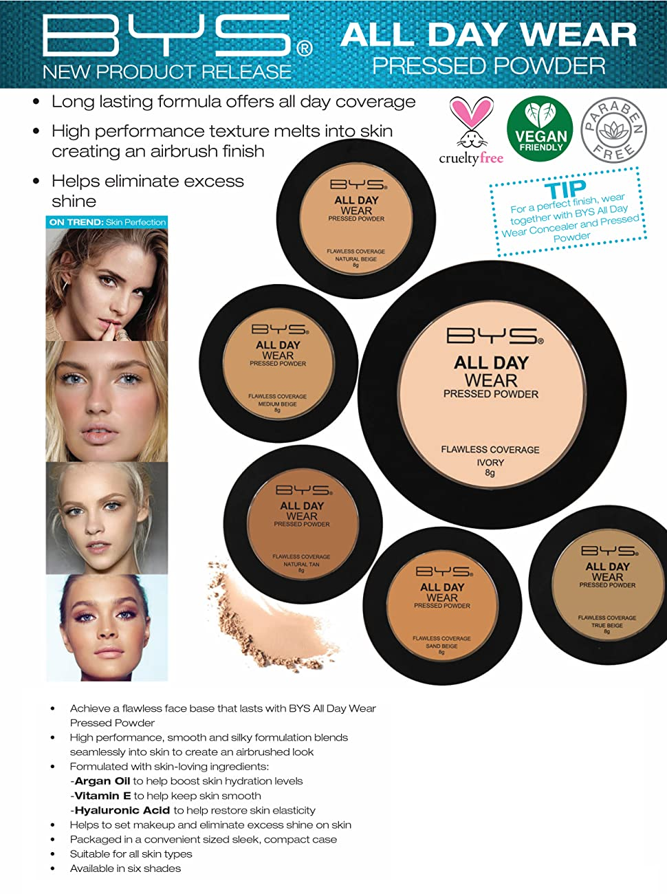 Pressed Powder flawless base smooth blends Argan hydration antioxidant Vitamin E Hyaluronic Acid