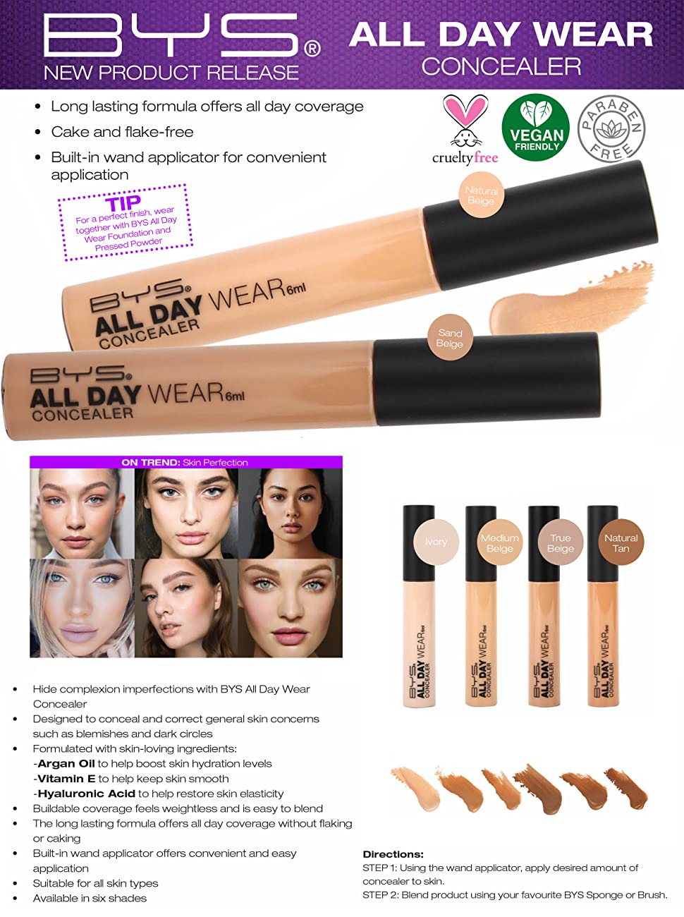 All Day Wear Concealer Built in Wand Beige imperfections  correct blemishes dark Argan hydration