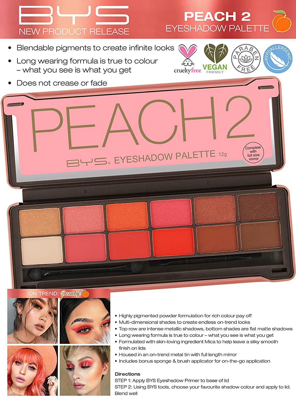 peach 2 matte and metallic eyeshadow palette tin with applicator 12 shades