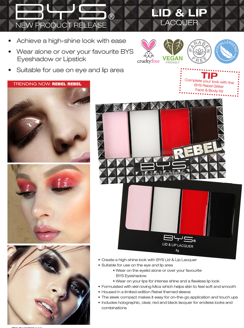 Lid and Lip Lacquer - ultra shine look wear alone or over Eyeshadow or Lipstick lightweight formula