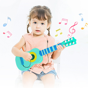WEY&FLY Kids Toy Guitar 6 String,17 Inch Baby Kids Cute Guitar