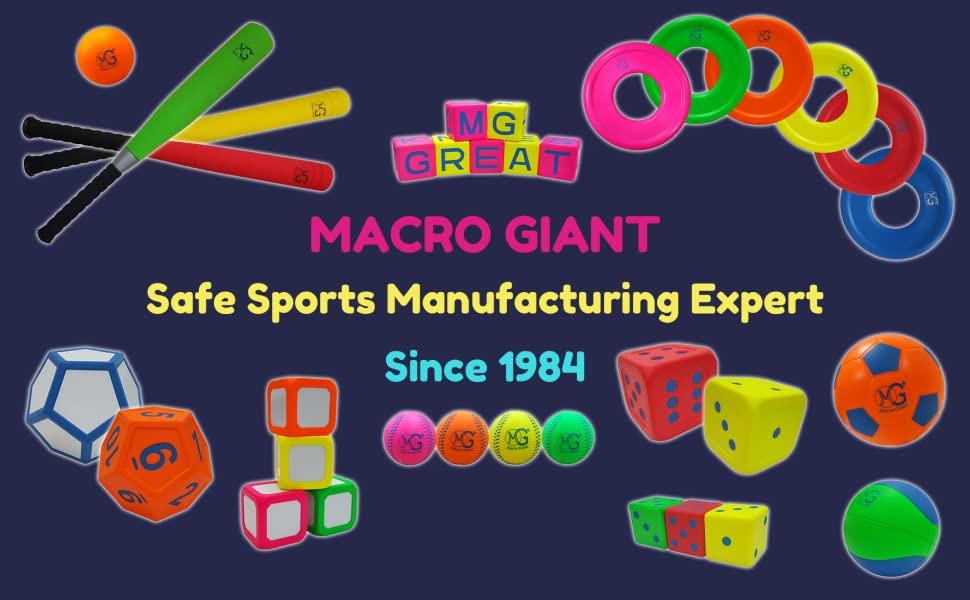 MG MACRO GIANT PU FOAM PRODUCT BASEBALL BASKETBALL SOCCER BAT T-BALL FRISBEE DICE KIDS TOY SPORT