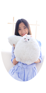 12 INCHES WHITE CAT STUFFED ANIMAL TOY