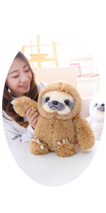 15.7 INCHES LARGE BROWN SLOTH STUFFED ANIMAL TOY