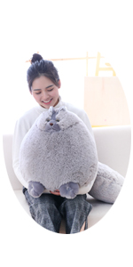 20 INCHES GIANT GRAY CAT STUFFED ANIMAL TOY