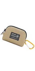 rough enough CORDURA khaki small coin pouch purse for mens boys kids with YKK zipper carabiner clip