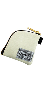 rough enough small canvas coin pouch for earphone earpod case ID card cash keys with gold YKK zipper